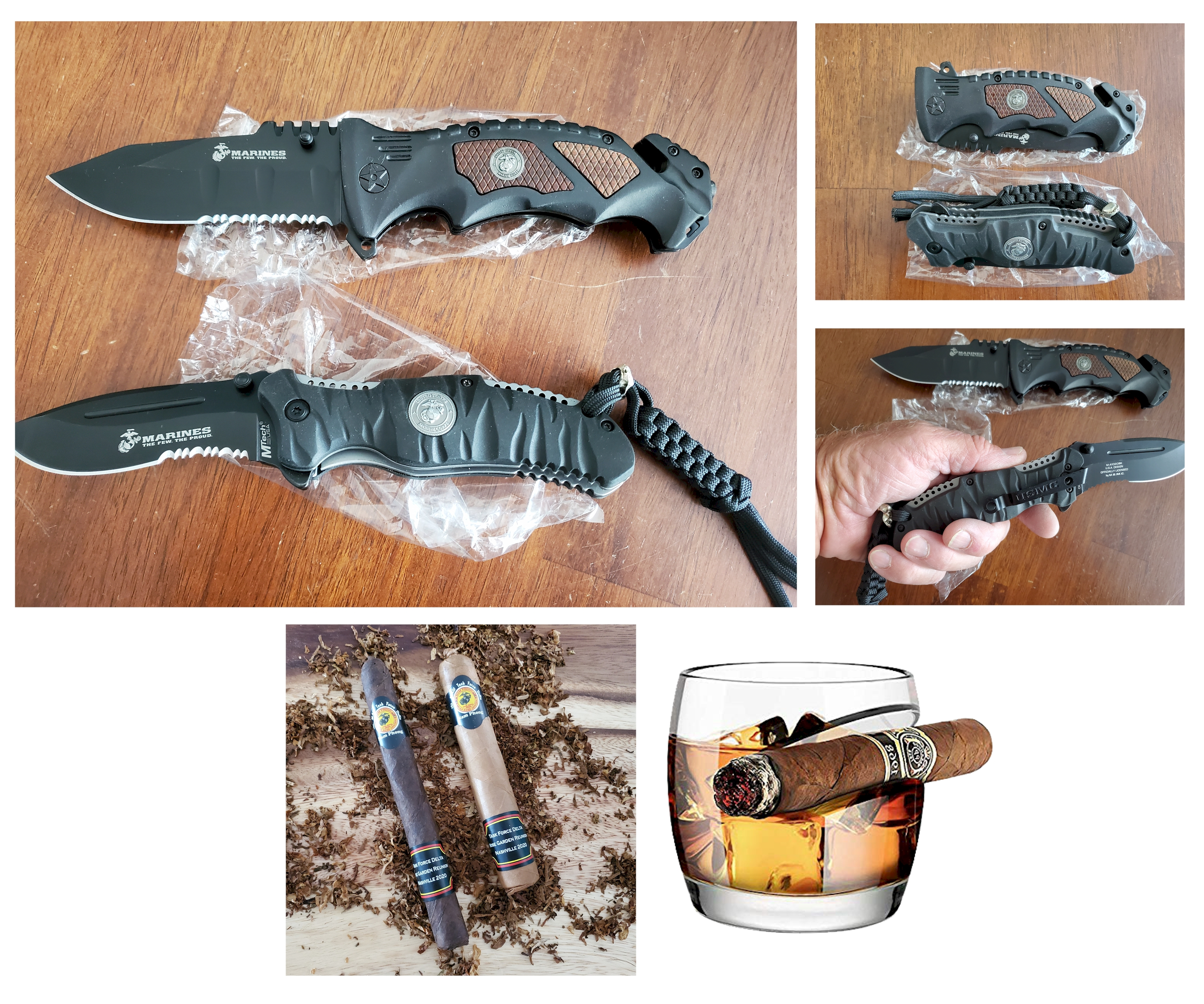 USMC Folding Knives Set, Cigar-rest Whiskey Tumbler and MCAS Rose Garden banded Cigars