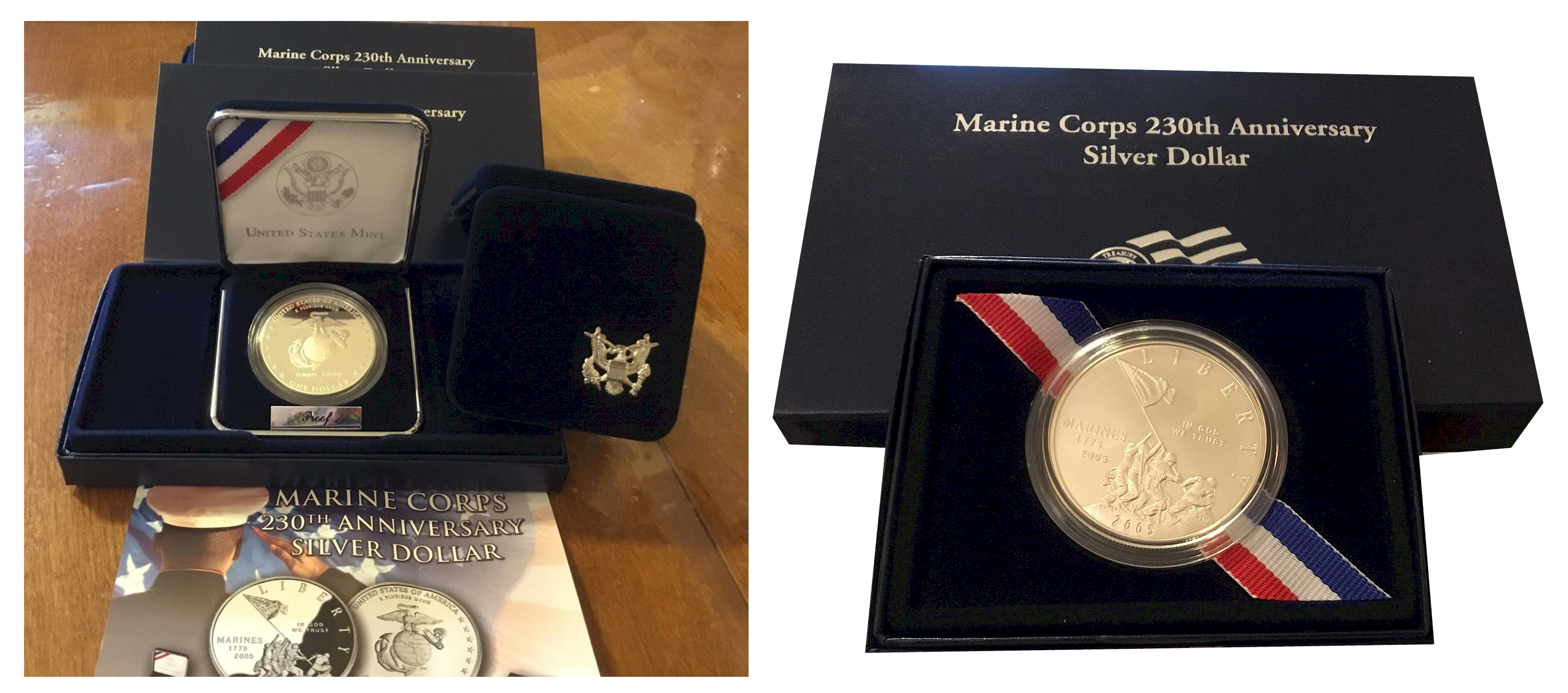 USMC 230th Anniversary Silver Dollar