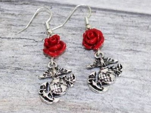 Silver Earrings with Red Roses & Marine Eagle, Globe & Anchor