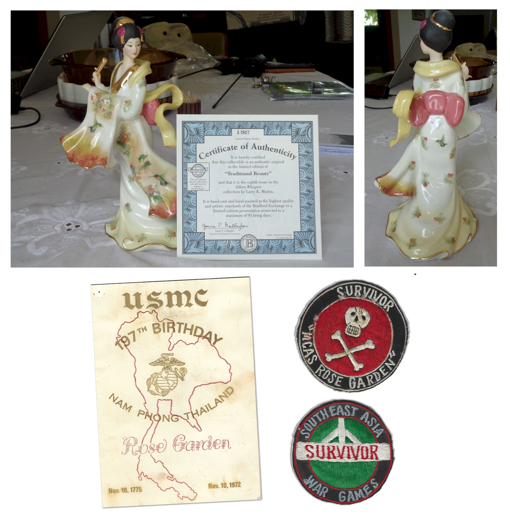 Original Porcelain Thai Doll with Nam Phong Menu and MCAS Service Patches