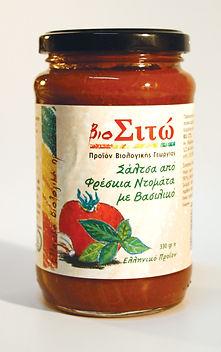βιολογικά προϊόντα, ντομάτα, σάλτσα, βασιλικός,φρέσκια