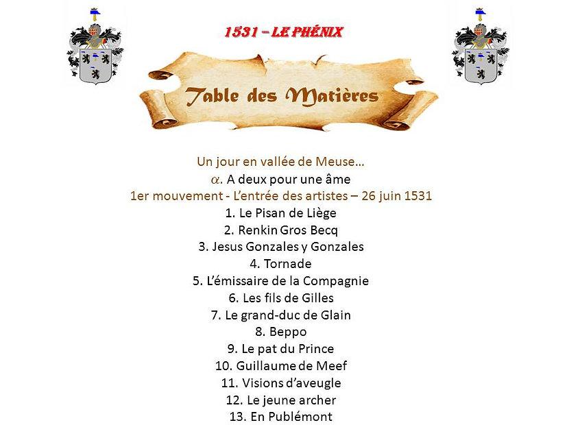 1531 - Le Phénix, table des matières