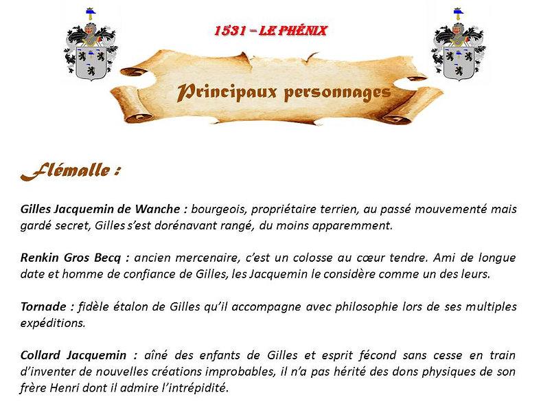 1531 - Le Phénix,principaux personnages
