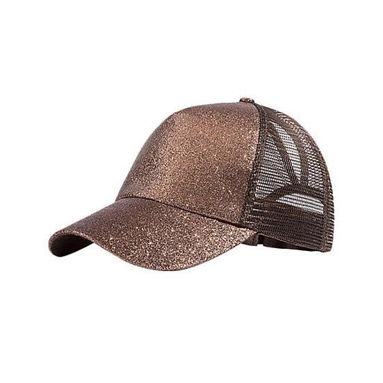 Bronze Glitter Ponytail Cap