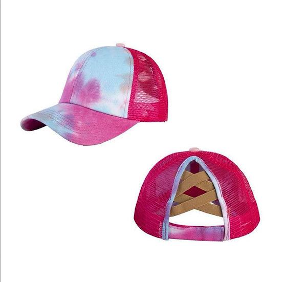 Tie Dye Ponytail Cap- Shocking Pink (criss cross back)