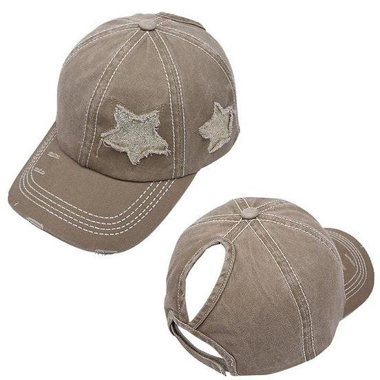 Lucky Star Ponytail Cap - Beige