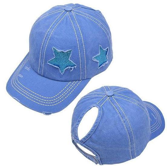 Lucky Star Ponytail Cap - Sky