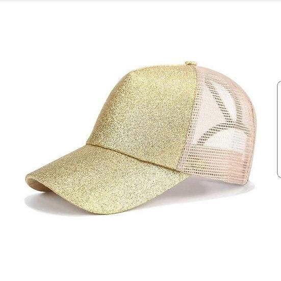 Platinum Gold Glitter Ponytail Cap