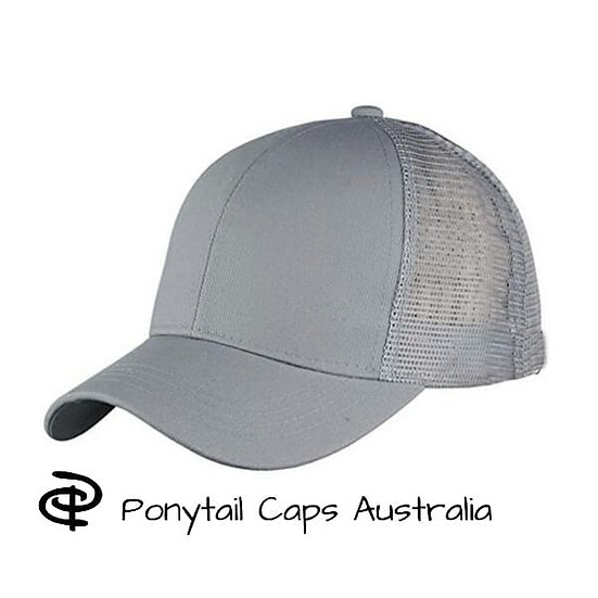 Grey Ponytail Cap