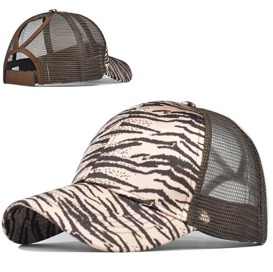 White Tiger Ponytail Cap