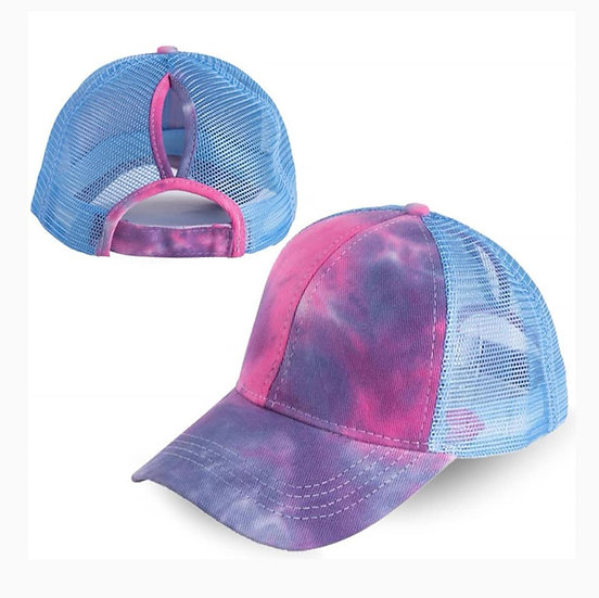 Tie Dye Ponytail Cap Blue