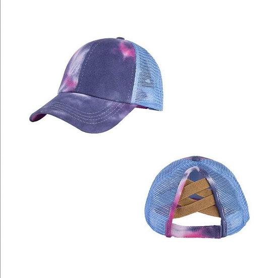 Tie Dye Ponytail Cap -Blue (criss cross back)