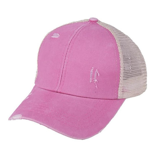 'Distressed' Ponytail Cap - Musk