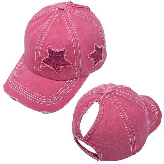 Lucky Star Ponytail Cap - Blush