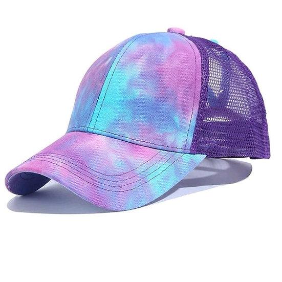 Tie Dye Ponytail Cap Purple