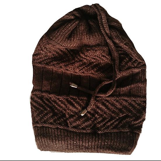 Ponytail Beanie /scarf - Choc