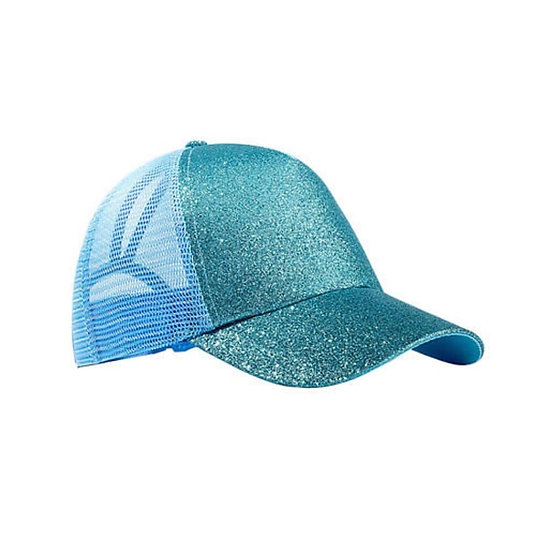 Aqua Glitter Ponytail Cap