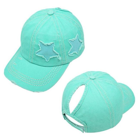 Lucky Star Ponytail Cap - Aqua