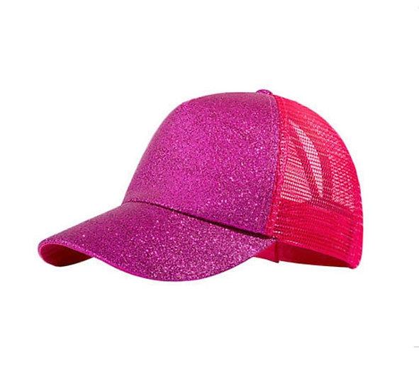 Hot Pink Glitter Ponytail Cap