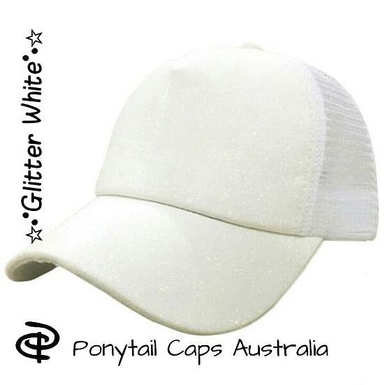 White Glitter Ponytail Cap