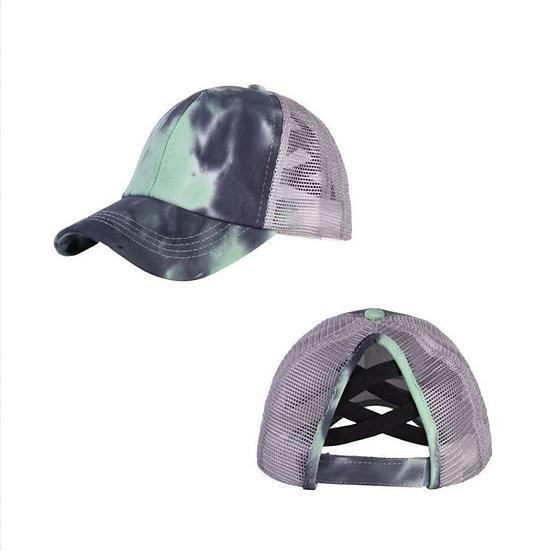 Tie Dye Ponytail Cap - Mint  (criss cross back)