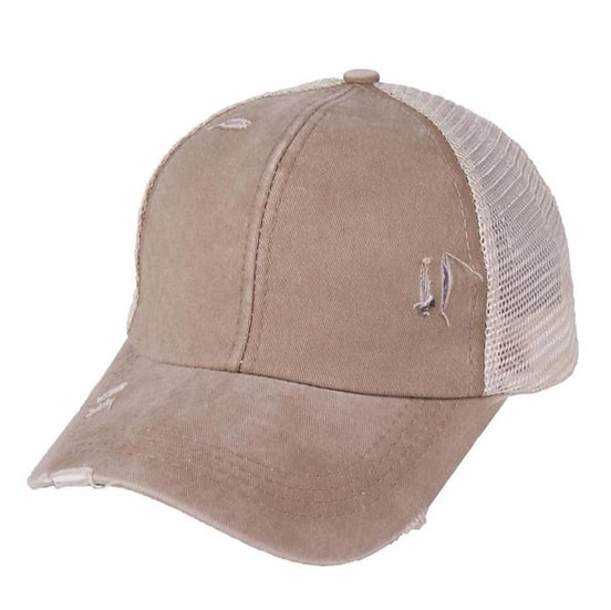 'Distressed' Ponytail Cap - Dirty Beige