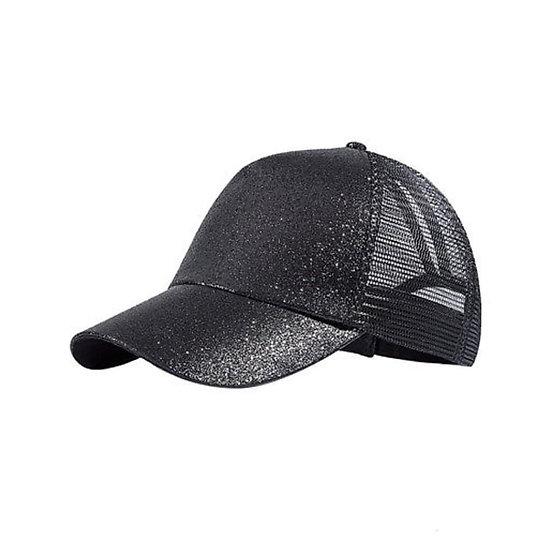 Black Glitter Ponytail Cap
