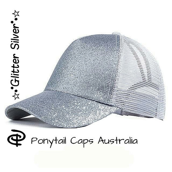 Silver Glitter Ponytail Cap