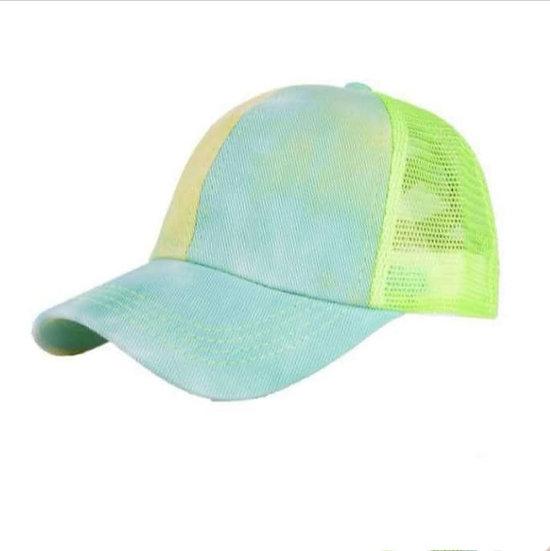 Tie Dye Ponytail Cap Lime Splice