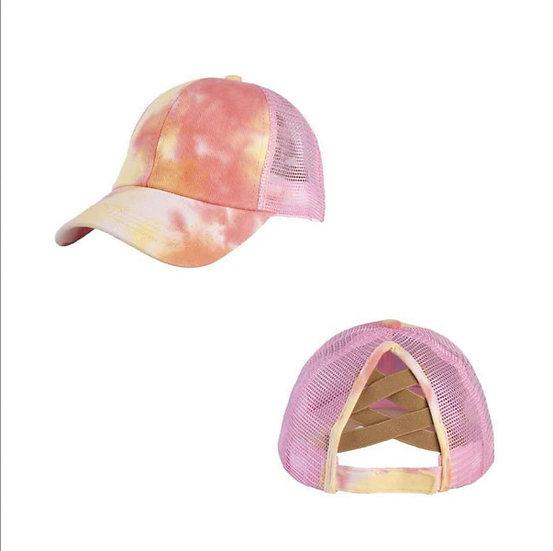 Tie Dye Ponytail Cap- Mango (criss cross back)