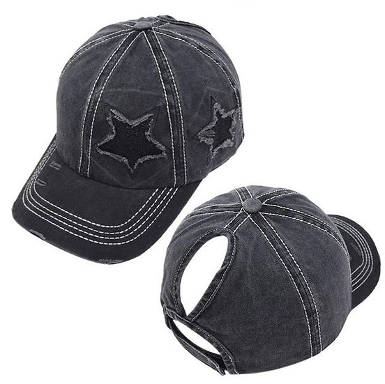 Lucky Star Ponytail Cap - Black
