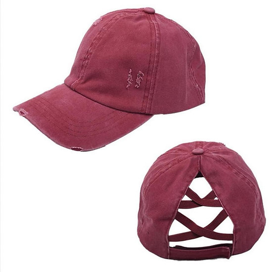Vintage (Soft Top) Full Cover Ponytail Cap -Maroon