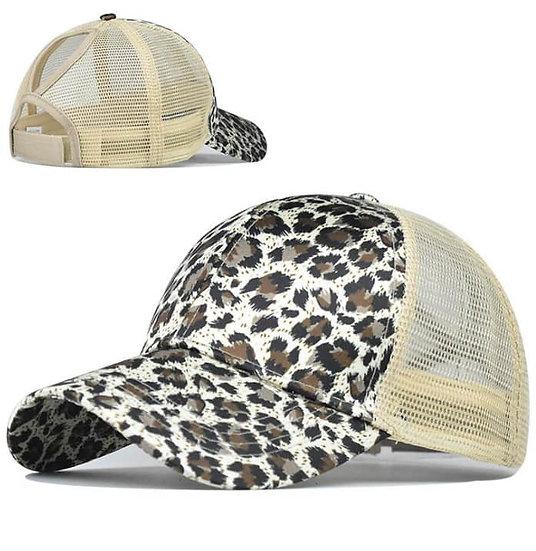 Snow Leopard Ponytail Cap