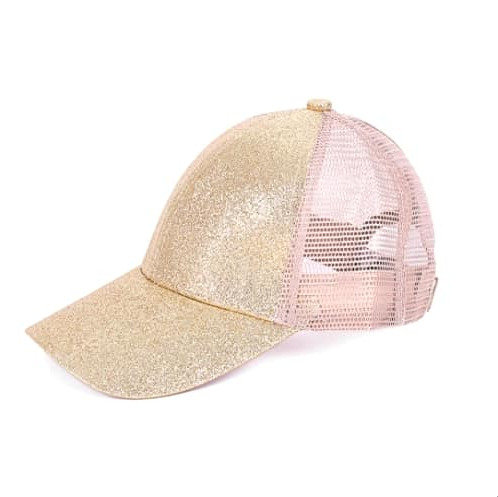 Youth Glitter Ponytail Cap -Platinum Gold