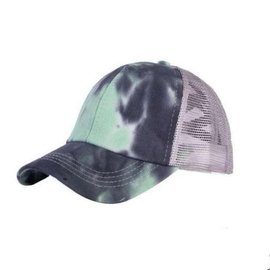 Tie Dye Ponytail Cap - Mint
