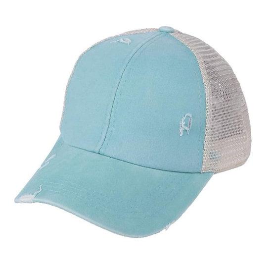 'Distressed' Ponytail Cap - Aqua