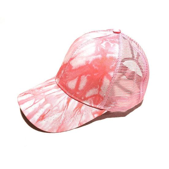 Marble  Ponytail Cap - Pink