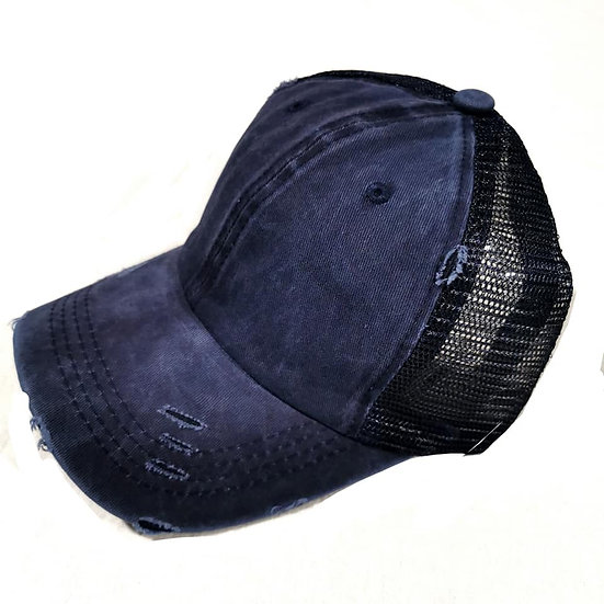 Vintage (Soft top) Ponytail Cap - Dark Denim