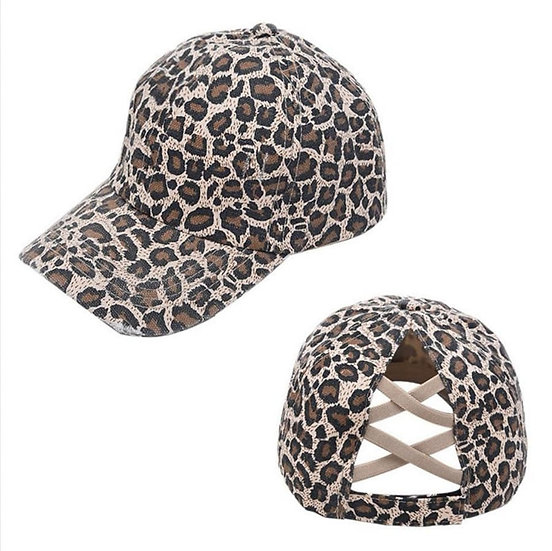 Vintage (Soft Top) Full Cover Ponytail Cap - Cheetah