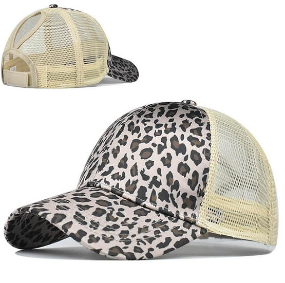 Grey Cheetah Ponytail Cap