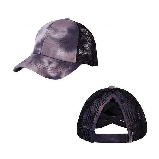 Tie Dye Ponytail Cap - Black (criss cross back)