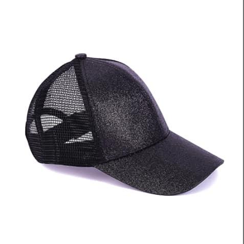 Youth Glitter Ponytail Cap - Black