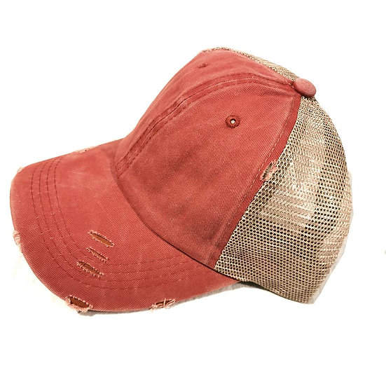 Vintage (Soft top) Ponytail Cap -Rust