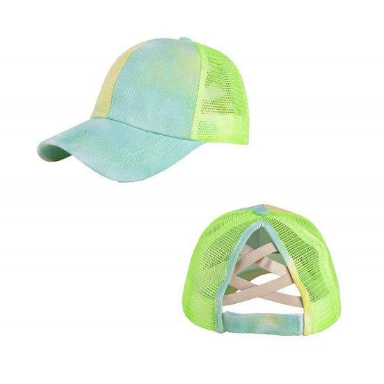 Tie Dye Ponytail Cap - Lime Splice (criss cross back)