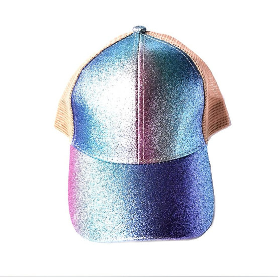 Kids Glitter Ponytail Cap - Mermaid