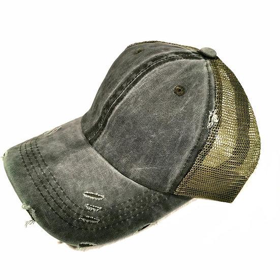 Vintage (Soft top) Ponytail Cap -Khaki