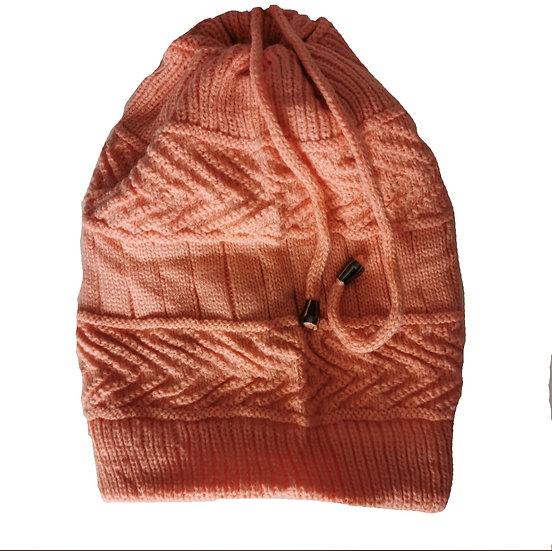 Ponytail Beanie /scarf - Peach