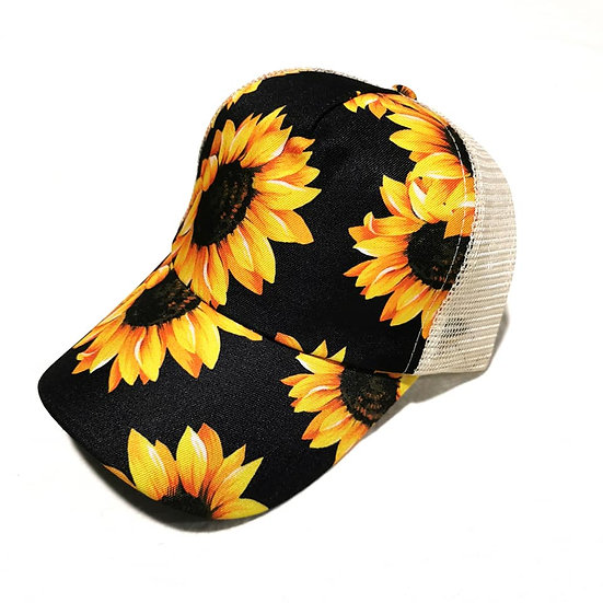 Cowgirl Ponytail Cap -Sunflowers