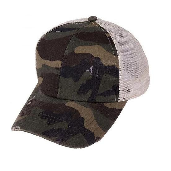 'Distressed' Ponytail Cap - Army
