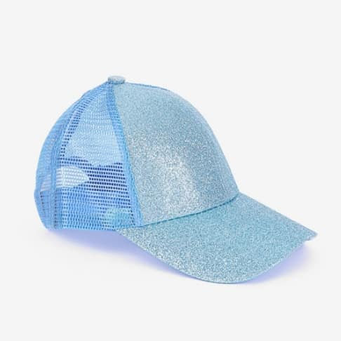 Youth Glitter Ponytail Cap -Aqua